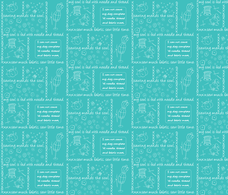 Notion Outlined Aqua fabric by pamela_hamilton on Spoonflower - custom fabric