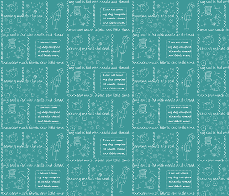 Notion Outline Turqouise fabric by pamela_hamilton on Spoonflower - custom fabric