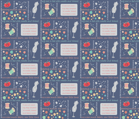 Sew Cute Bandana Blue fabric by pamela_hamilton on Spoonflower - custom fabric