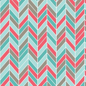 herringbone in red, teal, gray