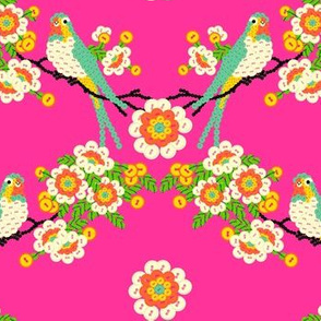Bloomin'buttons'n'Birds - pink