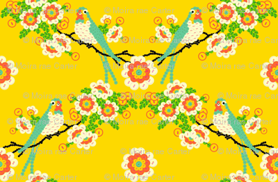 Bloomin'buttons'n'Birds - yellow