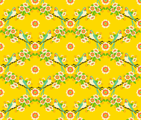 Bloomin'buttons'n'Birds - yellow fabric by moirarae on Spoonflower - custom fabric