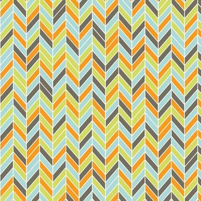 herringbone in orange, blue, green, and dark gray
