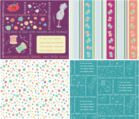 Sew Cute Collection fabric by pamela_hamilton on Spoonflower - custom fabric