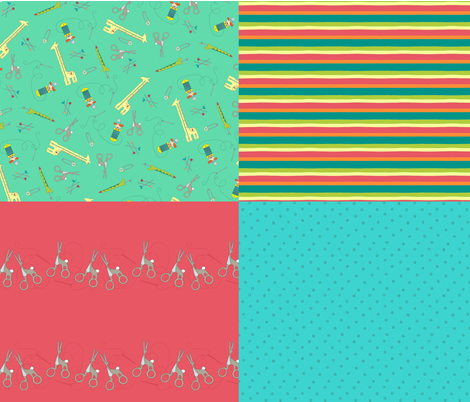 Notions Menagerie Fat Quarter Bundle fabric by aplcreations on Spoonflower - custom fabric
