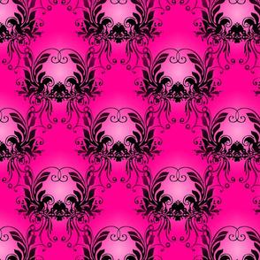 Pink Black Damask