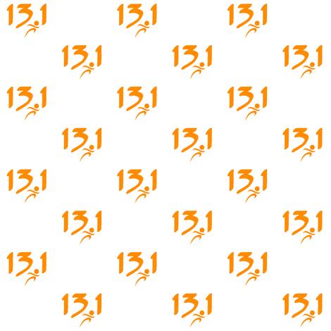 Orange 13.1 half-marathon fabric by sunsetworks on Spoonflower - custom fabric