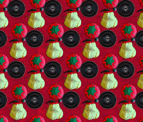 Pincushions on Red Velvet fabric by elramsay on Spoonflower - custom fabric
