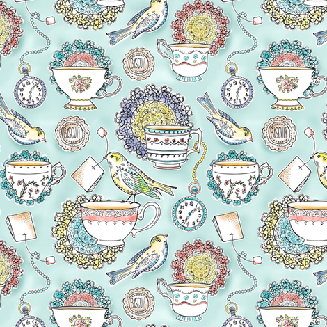 Afternoon Tea - Bird Watercolor 50% Scale  fabric by heatherdutton on Spoonflower - custom fabric