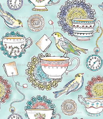 Afternoon Tea - Bird Watercolor 25% Scale