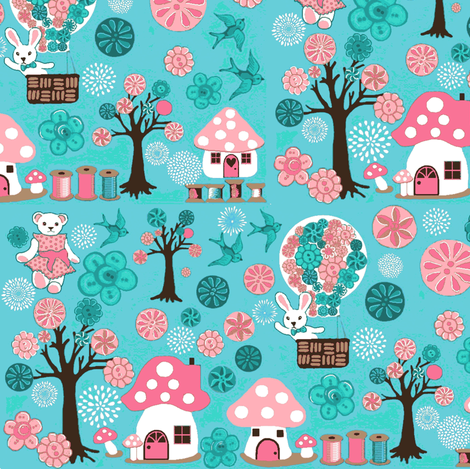 Forest animals // Button Toadstools fabric by magentarosedesigns on Spoonflower - custom fabric