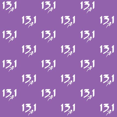 13.1 half-marathon on purple fabric by sunsetworks on Spoonflower - custom fabric