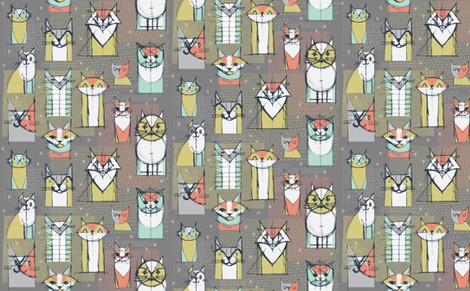 Cubist Cat Study by Friztin fabric by friztin on Spoonflower - custom fabric