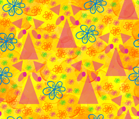 Bewildered Pink Rhinos in the Flowers fabric by anniedeb on Spoonflower - custom fabric