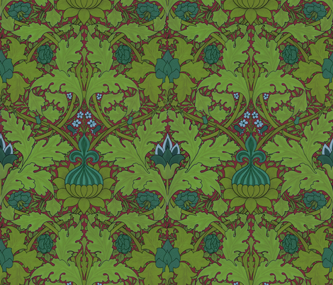 William Morris ~ Growing Damask ~ Seaside Garden on Puce fabric by peacoquettedesigns on Spoonflower - custom fabric
