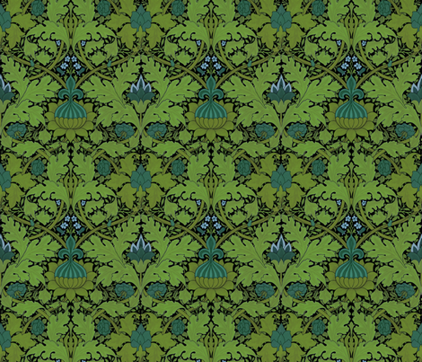 William Morris ~ Growing Damask ~ Seaside Garden on Black fabric by peacoquettedesigns on Spoonflower - custom fabric