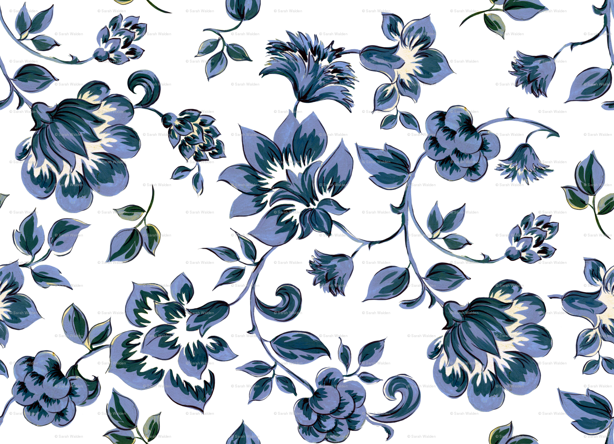 Fleurs De Provence Blue And White Wallpaper