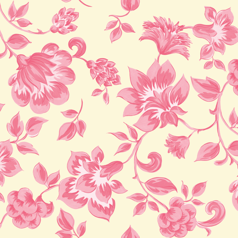 Fleurs de Provence ~ Dauphine on Hameau  fabric by peacoquettedesigns on Spoonflower - custom fabric
