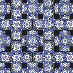 Gingerbread Tile ~ Provencal ~ Blue and White