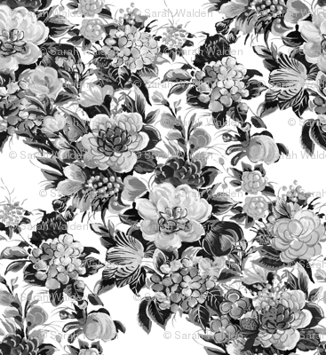 Mid Century Modern ~ Flower Cocktail ~ Black and White