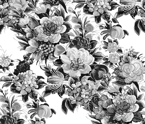 Mid Century Modern ~ Flower Cocktail ~ Black and White fabric by peacoquettedesigns on Spoonflower - custom fabric