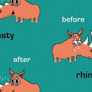 rhino rhinoceros rhinoplasty nose job, large scale, orange green