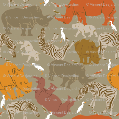 Rhinos and Zebras on Gray