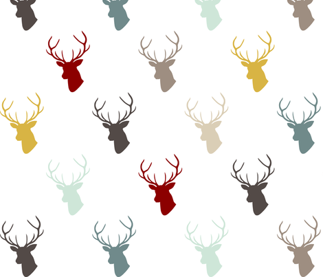 Modern Deer with custom Red fabric by mrshervi on Spoonflower - custom fabric