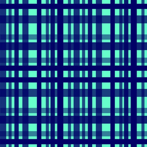 Vibrant Plaid Navy Blue & Turquoise
