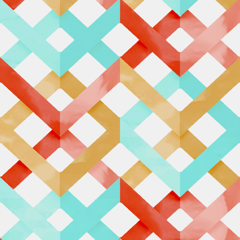 Watercolor Chevron Lattice fabric by willowlanetextiles on Spoonflower - custom fabric