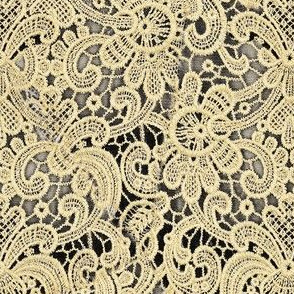 Cream Lace Over Charcoal Grey