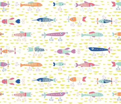 Fishing Lures Brights fabric by chrissievh on Spoonflower - custom fabric