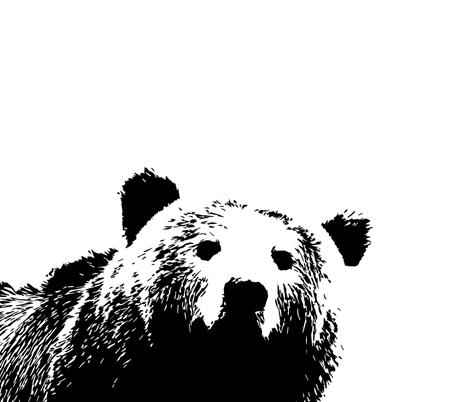 Large Bear Crib Sheet // Black and White fabric by littlearrowdesign on Spoonflower - custom fabric