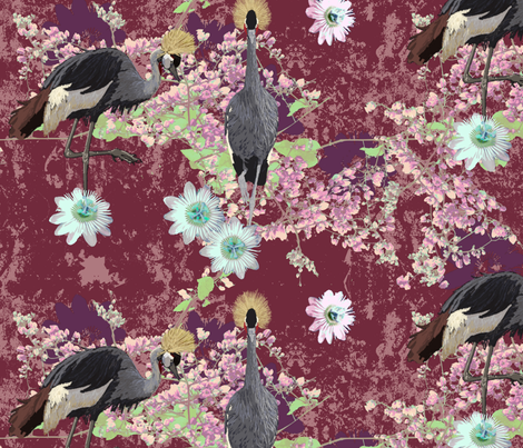 Crowning Glory of West Africa in Wine and Pinks fabric by bloomingwyldeiris on Spoonflower - custom fabric