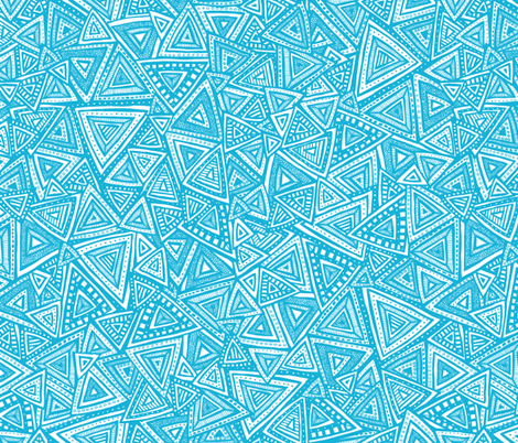 Tribal Triangles (Blue) fabric by robyriker on Spoonflower - custom fabric