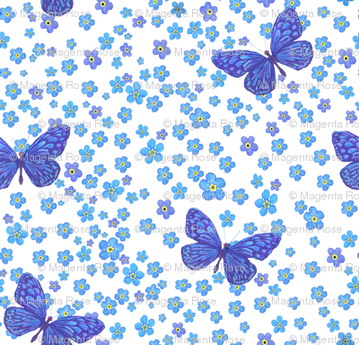 Watercolor Forgetmenot Blue Butterflies