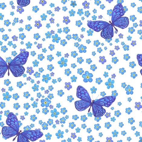 Watercolor Forgetmenot Blue Butterflies  fabric by magentarosedesigns on Spoonflower - custom fabric