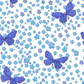 Watercolor Forgetmenot Blue Butterflies