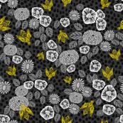 Bees in the Garden - Charcoal Dots by Andrea Lauren