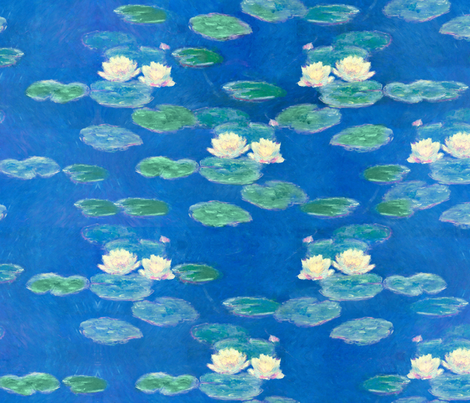 Monet: Nympheas Effet du Soir Waterlily Painting repeat fabric by ninniku on Spoonflower - custom fabric
