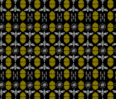 Honey Bees & Hives (Black) by Andrea Lauren fabric by andrea_lauren on Spoonflower - custom fabric
