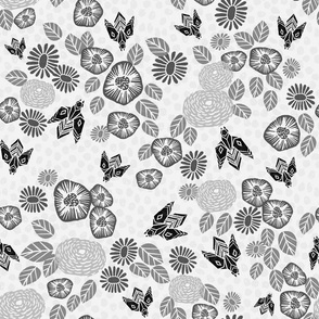 Bees in the Garden - Light Grey by Andrea Lauren
