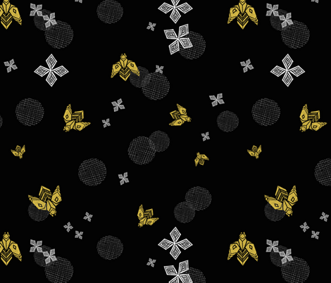 Bees in Flight - Black by Andrea Lauren fabric by andrea_lauren on Spoonflower - custom fabric