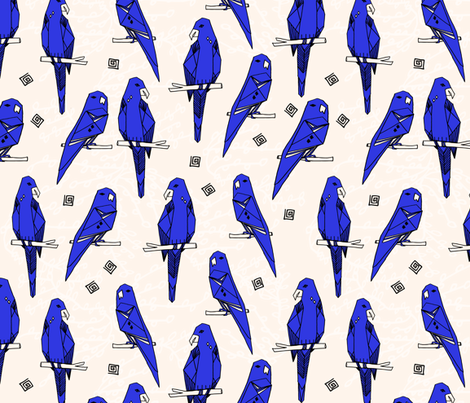 Parrots - Cobalt Blue/Champagne by Andrea Lauren fabric by andrea_lauren on Spoonflower - custom fabric