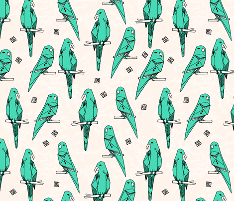 Parrot - Light Jade/Champagne by Andrea Lauren fabric by andrea_lauren on Spoonflower - custom fabric