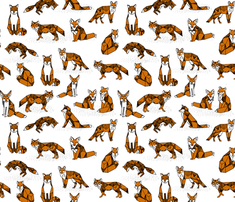 fox // foxes rust brown kids nursery white background fox animal geometric fox design fabric by andrea_lauren on Spoonflower - custom fabric