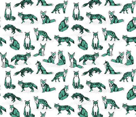 fox // green geo fox geometric fox andrea lauren foxes nursery print fabric by andrea_lauren on Spoonflower - custom fabric