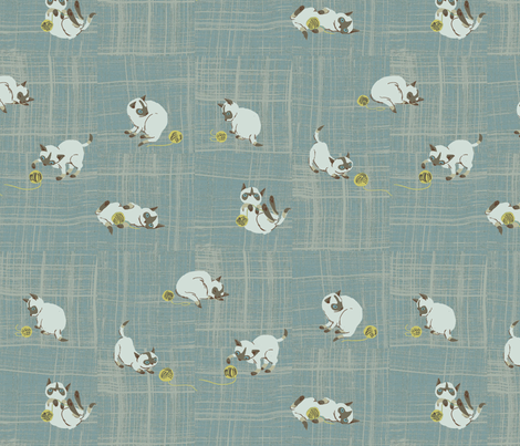 siamese, bleu fabric by sanneteloo on Spoonflower - custom fabric