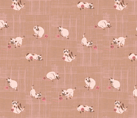 siamese, pink fabric by sanneteloo on Spoonflower - custom fabric